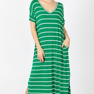 Kelly Green Striped Maxi with pockets